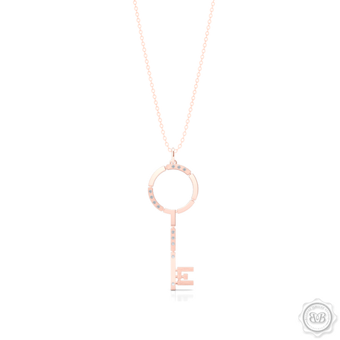 An elegant, streamlined Key Pendant Necklace with modern architectural appeal and urban grace. Crafted in Romantic Rose Gold. This design is constructed of Polished and Brushed Metal Segments and Iced with 0.06ct - Round Brilliant Diamonds.  Available in two Sizes. Free Silver Chain Option . Free Shipping on All USA Orders. 30 Day Returns | BASHERT JEWELRY | Boca Raton, Florida
