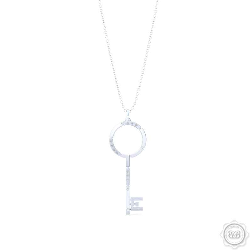 An elegant, streamlined Key Pendant Necklace with modern architectural appeal and urban grace. Crafted in Silver or White Gold. This design is constructed of Polished and Brushed Metal Segments and Iced with 0.06ct - Round Brilliant Diamonds.  Available in two Sizes. Free Silver Chain Option . Free Shipping on All USA Orders. 30 Day Returns | BASHERT JEWELRY | Boca Raton, Florida