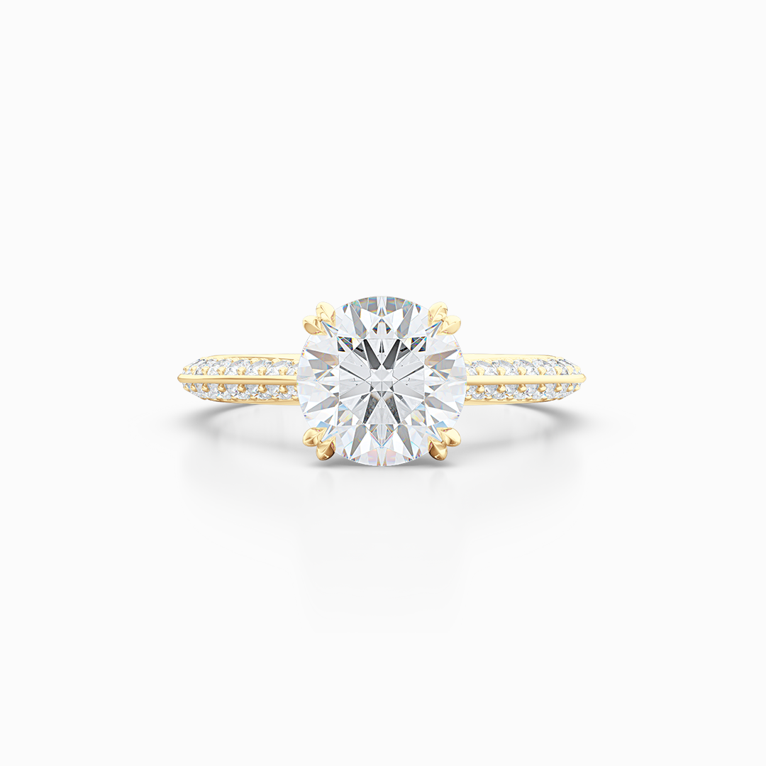 A classic Knife-edge Diamond Solitaire Engagement Ring with a recessed hidden diamond halo. Hand fabricated in Classic Yellow Gold. 100%  recycled, sustainable, precious metals.  GIA Certified Round Brilliant Diamond.  Free Shipping on All USA Orders. 15 Days Returns | BASHERT JEWELRY | Boca Raton, Florida