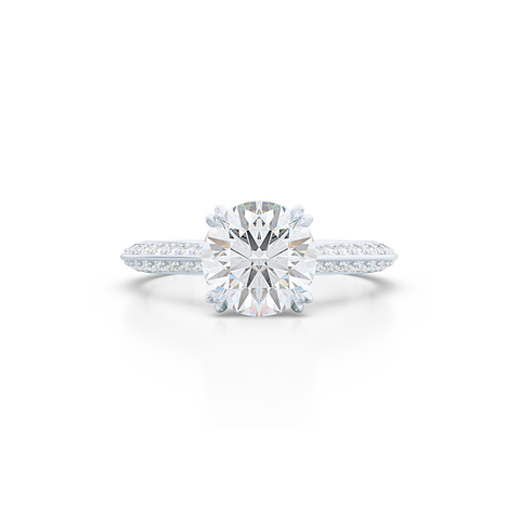 A classic Knife-edge Diamond Solitaire Engagement Ring with a recessed hidden diamond halo. Hand fabricated in White Gold or Platinum. 100%  recycled, sustainable, precious metals.  GIA Certified Round Brilliant Diamond.  Free Shipping on All USA Orders. 15 Days Returns | BASHERT JEWELRY | Boca Raton, Florida