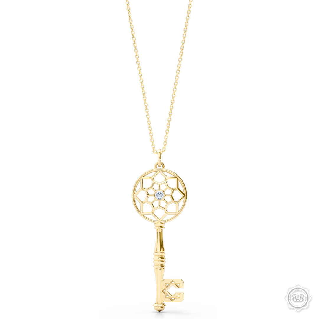 Ornate Diamond Adorned Key Pendant tribute to the Moorish Architectural Splendor of Northern Africa and Andalusía. Crafted in Classic Yellow Gold. Available in two sizes. Free Shipping USA. 30Day Returns. Free Silver Chain | BASHERT JEWELRY | Boca Raton Florida
