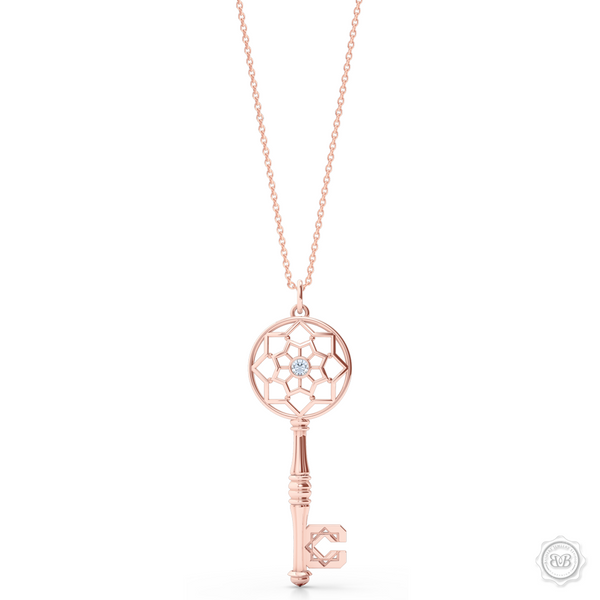 Ornate Diamond Adorned Key Pendant tribute to the Moorish Architectural Splendor of Northern Africa and Andalusía. Crafted in Romantic Rose Gold. Available in two sizes. Free Shipping USA. 30Day Returns. Free Silver Chain | BASHERT JEWELRY | Boca Raton Florida