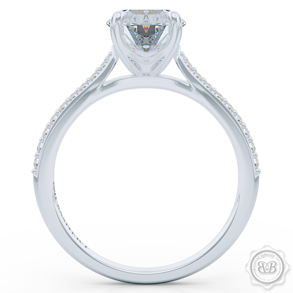 Classic Oval Solitaire Engagement Ring. Handcrafted in White Gold or Platinum. Elegant Bead-Set Diamond Shoulders. Forever One Moissanite by Charles & Colvard.  Free Shipping USA. 30-Day Returns | BASHERT JEWELRY | Boca Raton, Florida.