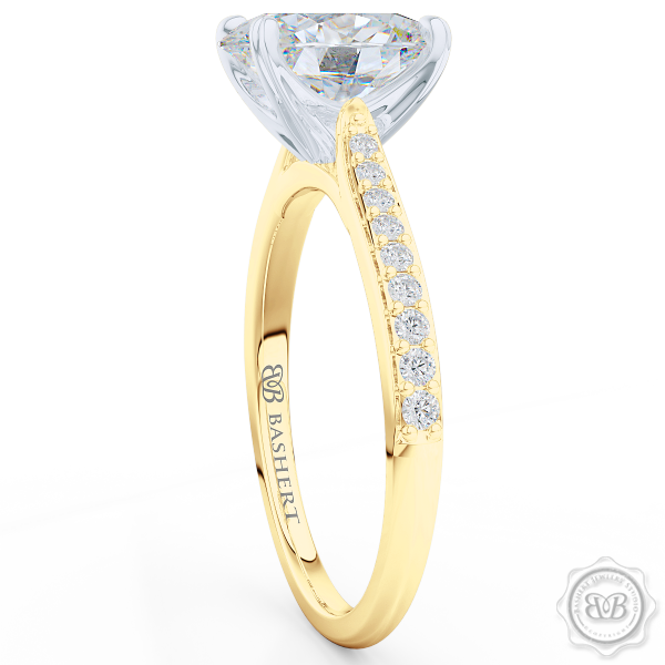 Classic Oval Cut Diamond Solitaire Ring Handcrafted in Classic Yellow Gold and Platinum. Elegant Bead-Set Diamond Shoulders. Find a GIA Certified Diamond Tailored to Your Budget. Create Your Own Dream Engagement Ring. This Design Offers a Matching Wedding Band For Her. Free Shipping USA. 30Day Returns | BASHERT JEWELRY | Boca Raton Florida