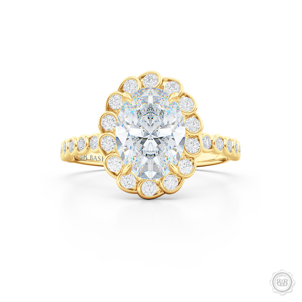 Elegant Diamond Halo Engagement Ring. Handcrafted in Classic Yellow Gold. Stunning Bezel-Set Diamonds Encrusted Halo crown fashioned as delicate Ocean waves. Free Shipping USA. 30-Day Returns | BASHERT JEWELRY | Boca Raton, Florida.