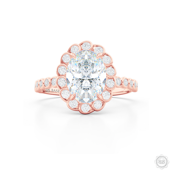 Elegant Diamond Halo Engagement Ring. Handcrafted in Romantic Rose Gold. Stunning Bezel-Set Diamonds Encrusted Halo crown fashioned as delicate Ocean waves. Free Shipping USA. 30-Day Returns | BASHERT JEWELRY | Boca Raton, Florida.