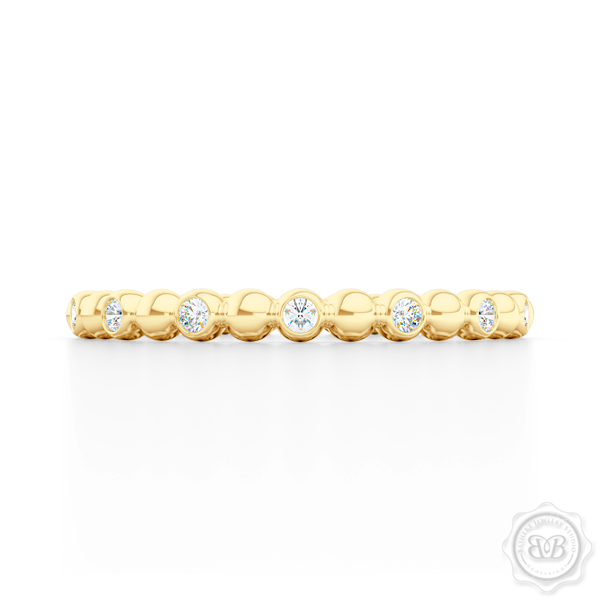 Delicate Polka Dot Diamond Band. Playful Design Handcrafted in Classic Yellow Gold and Round Brilliant Diamonds. Free Shipping for All USA Orders. 30 Day Returns | BASHERT JEWELRY | Boca Raton, Florida