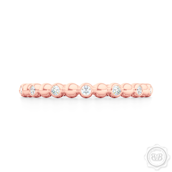 Delicate Polka Dot Diamond Band. Playful Design Handcrafted in Romantic Rose Gold and Round Brilliant Diamonds. Free Shipping for All USA Orders. 30 Day Returns | BASHERT JEWELRY | Boca Raton, Florida