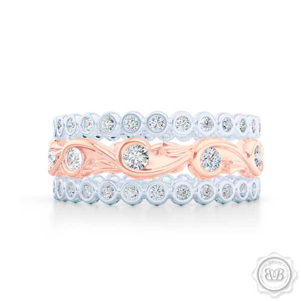 Rose-Vine Inspired, Three-Row Eternity Diamond Band. Elegantly Crafted in Two-Tone Rose Gold and White Gold, Encrusted with Round Brilliant Diamonds. Free Shipping for All USA Orders. 30 Day Returns | BASHERT JEWELRY | Boca Raton, Florida
