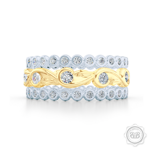 Rose-Vine Inspired, Three-Row Eternity Diamond Band. Elegantly Crafted in Two-Tone Yellow Gold and White Gold, Encrusted with Round Brilliant Diamonds. Free Shipping for All USA Orders. 30 Day Returns | BASHERT JEWELRY | Boca Raton, Florida