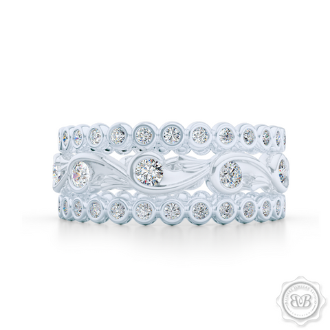 Rose Vine Inspired, Three-Row Eternity Diamond Band. Elegant, Feminine Lines Gently Hugging Round Diamonds. Precious Platinum or White Gold. Free Shipping for All USA Orders. 30 Day Returns | BASHERT JEWELRY | Boca Raton, Florida