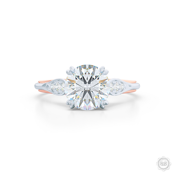 Round Diamond Solitaire Engagement Ring with Vintage appeal. Handcrafted in two-tone Rose and White Gold.  GIA certified Round Brilliant Diamond.  Free Shipping USA. 30-Day Returns | BASHERT JEWELRY | Boca Raton, Florida.