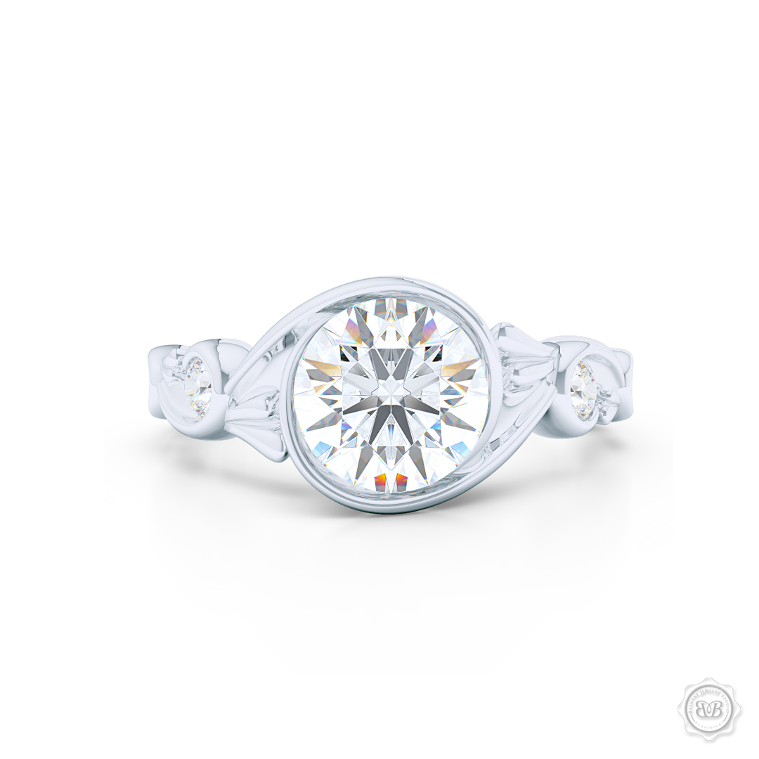 Elegant Wrap-Around Rose-Vine Solitaire Engagement Ring, crafted in White Gold or Precious Platinum. GIA Certified Round Brilliant Diamond. Free Shipping USA.  30-Day Returns | BASHERT JEWELRY | Boca Raton, Florida.