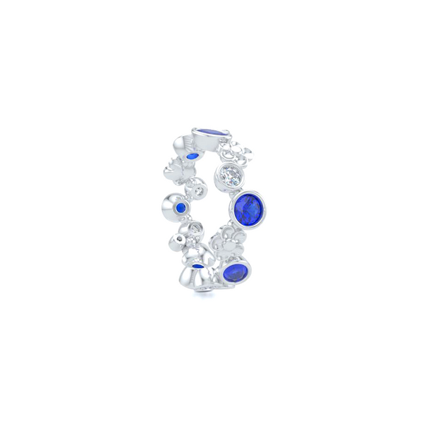 Floral Fashion Band. Handcrafted in Bright White Gold or Platinum. Blue Sapphires and Brilliant Diamonds, alternating in a playful design. Customize this design with Birthstone Gems of Your Choice. Free Shipping USA. 15 Day Returns. BASHERT JEWELRY | Boca Raton, Florida
