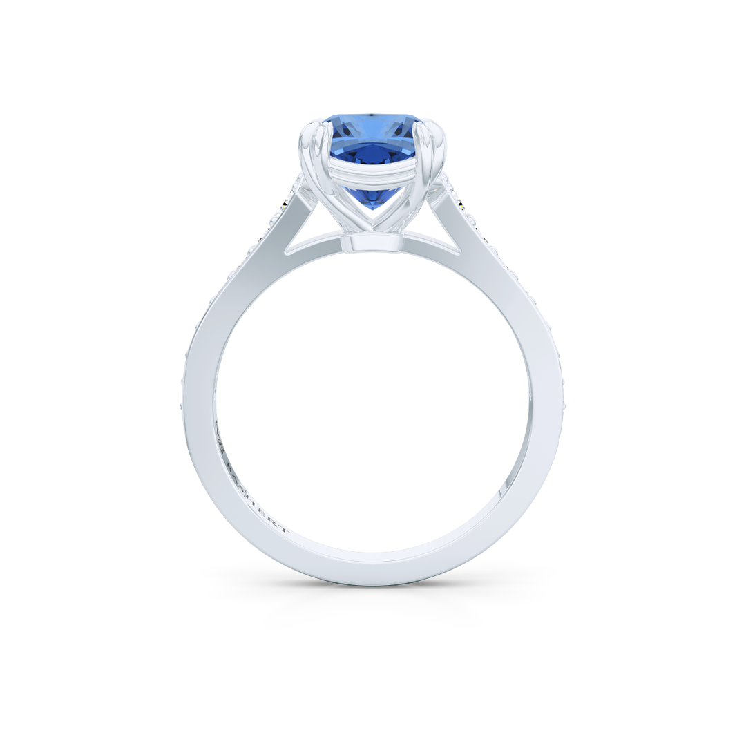 Vintage inspired, cushion cut Sapphire Solitaire Engagement Ring. Hand-fabricated in sustainable, solid White Gold. Classic French Pavé set diamond shoulders. Free Shipping for All USA Orders. 15 Day Returns | BASHERT JEWELRY | Boca Raton, Florida