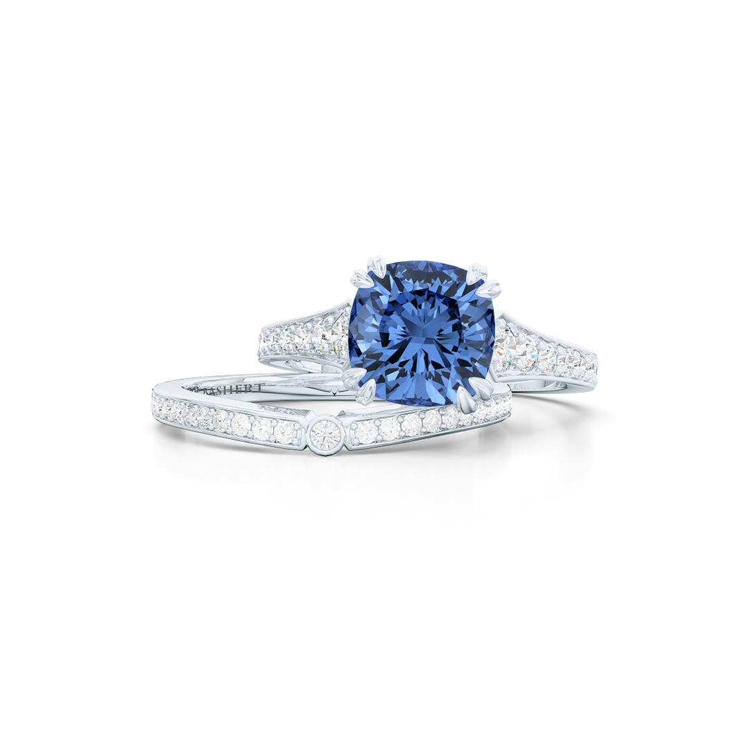 Vintage inspired, cushion cut Sapphire Solitaire Engagement Ring. Hand-fabricated in Precious Platinum. Classic French Pavé set diamond shoulders. Free Shipping for All USA Orders. 15 Day Returns | BASHERT JEWELRY | Boca Raton, Florida