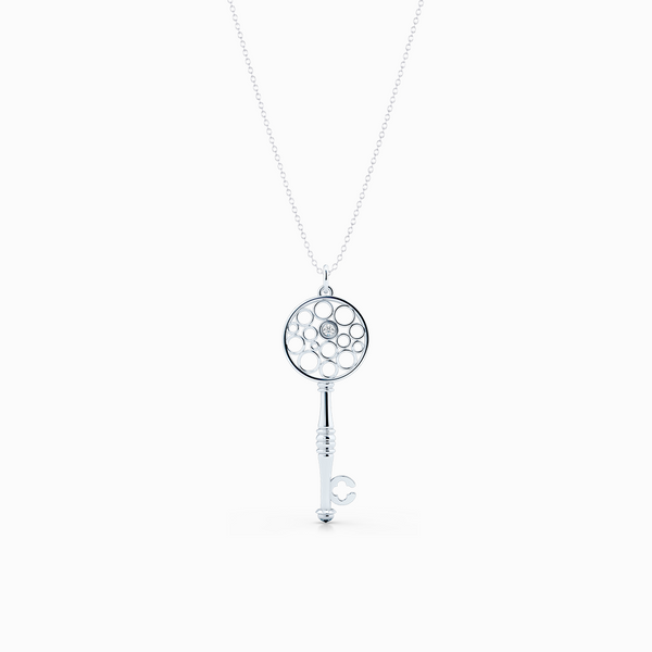 Floating Diamond Key Pendant necklace, hand-fabricated in sustainable, solid Sterling Silver.  Free Shipping USA.  15 Day Returns.  | BASHERT JEWELRY | Boca Raton, Florida