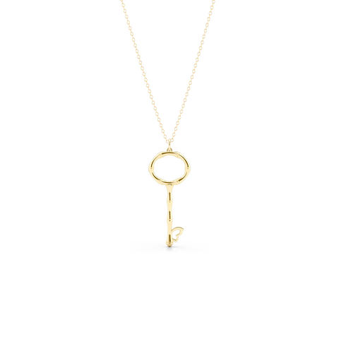 Bamboo inspired, Yellow Gold Key Pendant. Delicate Butterfly accent. Hand-fabricated in sustainable, solid, 14K Gold. Key pendants are a classic jewelry statement for girls of all ages. Free Shipping for All US Orders. 15 Day Returns | BASHERT JEWELRY | Boca Raton Florida