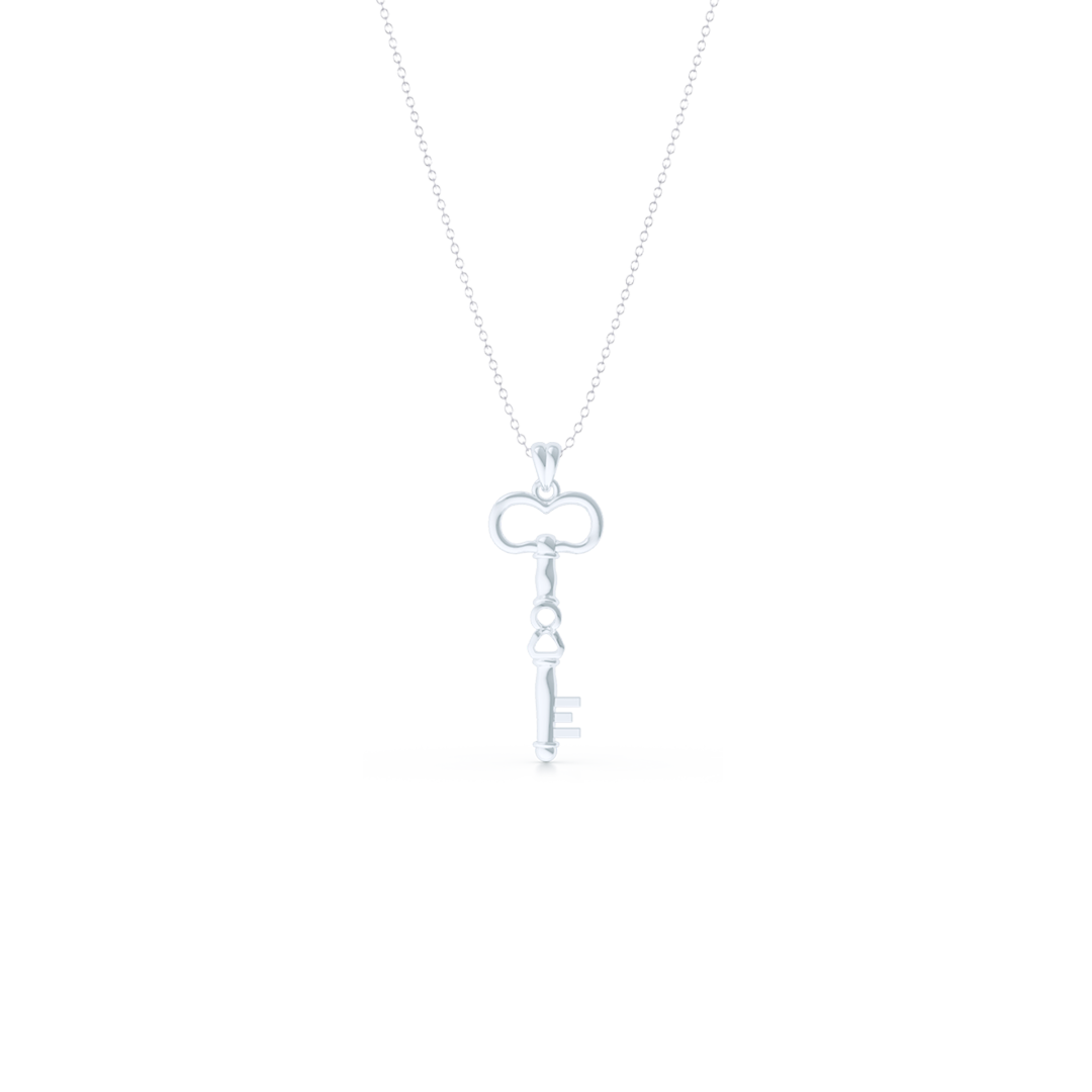 A unique skeleton key pendant necklace with an infinity detail. Hand-fabricated in solid, sustainable 14K White Gold. Available in three sizes.  Free Shipping for All USA Orders. 15-Day Returns | BASHERT JEWELRY | Boca Raton, Florida
