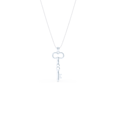 A unique skeleton key pendant necklace with an infinity detail. Hand-fabricated in solid, sustainable 18K White Gold. Available in three sizes.  Free Shipping for All USA Orders. 15-Day Returns | BASHERT JEWELRY | Boca Raton, Florida