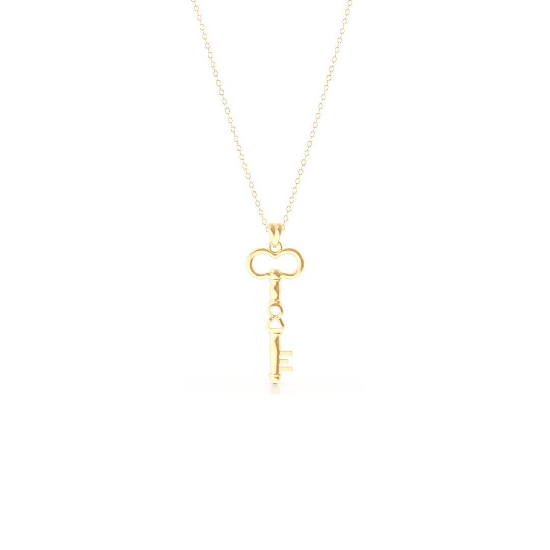 A unique skeleton key pendant necklace with an infinity detail.  Hand-fabricated in solid, sustainable 18K Yellow Gold. Available in three sizes.  Free Shipping for All USA Orders. 15-Day Returns | BASHERT JEWELRY | Boca Raton, Florida