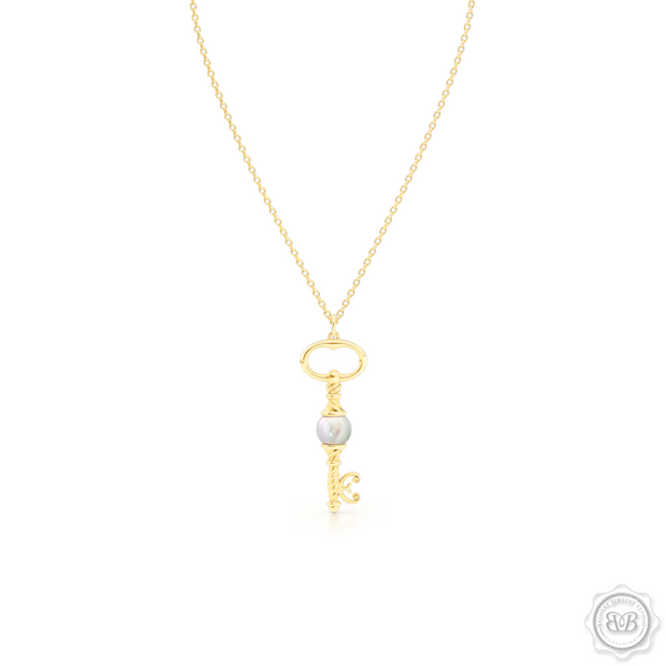 Unique Pearl Key Pendant Necklace.  Handcrafted in Classic Yellow Gold. Available with White Akoya Pearl or Freshwater White Pearl. Free Shipping USA. 30 Day Returns. Free Silver Chain Option | BASHERT JEWELRY | Boca Raton, Florida