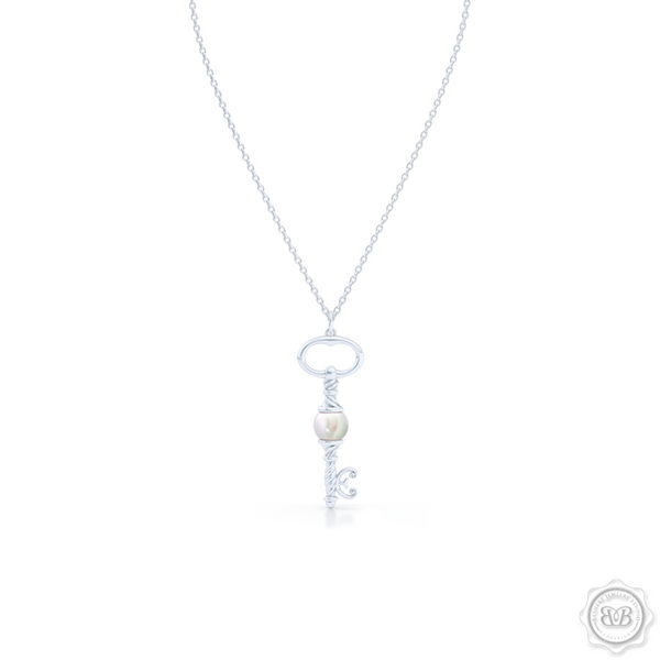 Unique Pearl Key Pendant Necklace.  Available with White Akoya Pearl, freshwater White Pearl or Deep Sea Green Saltwater Pearl. Free Shipping USA. 30 Day Returns. Free Silver Chain Option | BASHERT JEWELRY | Boca Raton, Florida