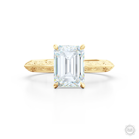 Solitaire Engagement Ring. Emerald Step-Cut GIA Certified Excellent Graded Diamond. Handcrafted in Classic Yellow Gold. The uniquely structured, soft bevel, shoulders of the ring are ornate with hand-carved baroque swirls. Free Shipping for All USA Orders. 30-Day Returns | BASHERT JEWELRY | Boca Raton, Florida