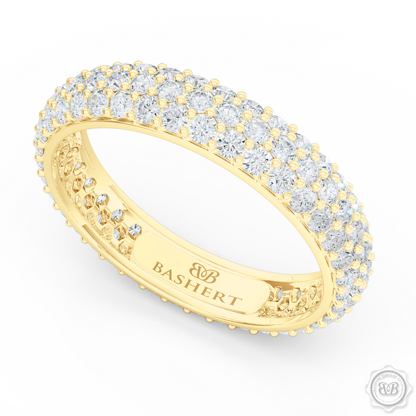 Three-row Diamond Eternity Wedding Band. Handcrafted in Classic Yellow Gold and Round Brilliant Diamonds. Free Shipping for All USA Orders. 30-Day Returns | BASHERT JEWELRY | Boca Raton, Florida