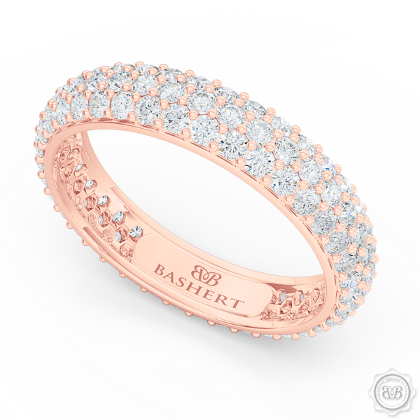 Three-row Diamond Eternity Wedding Band. Handcrafted in Romantic Rose Gold and Round Brilliant Diamonds. Free Shipping for All USA Orders. 30-Day Returns | BASHERT JEWELRY | Boca Raton, Florida