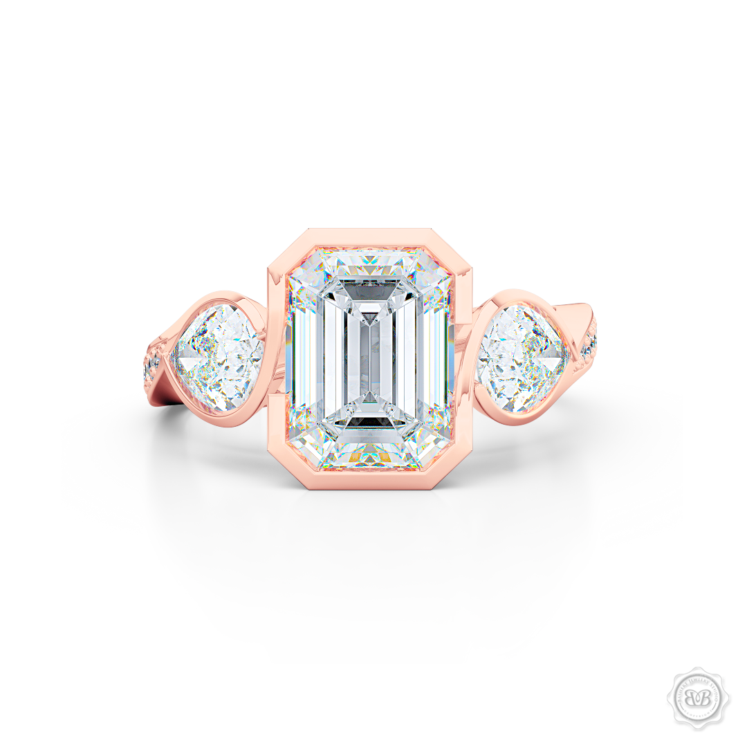 Three stone Diamond engagement ring. Emerald Cut GIA certified Diamond. Pear shape side stones. Handcrafted in Romantic Rose Gold. Free Shipping on All USA Orders. 30-Day Returns | BASHERT JEWELRY | Boca Raton, Florida