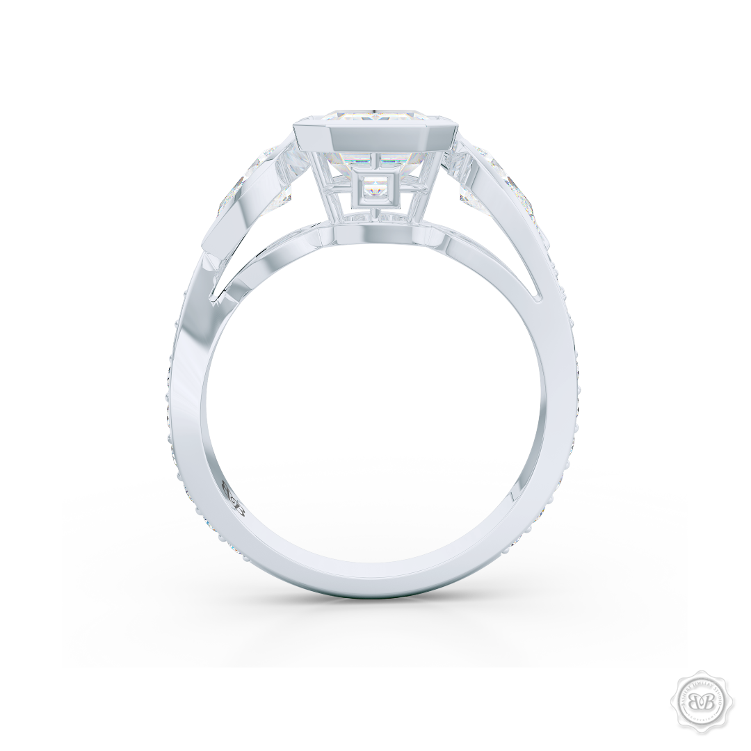 Three stone Diamond engagement ring. Emerald Cut GIA certified Diamond. Pear shape side stones. Handcrafted in White Gold or Precious Platinum. Free Shipping on All USA Orders. 30-Day Returns | BASHERT JEWELRY | Boca Raton, Florida