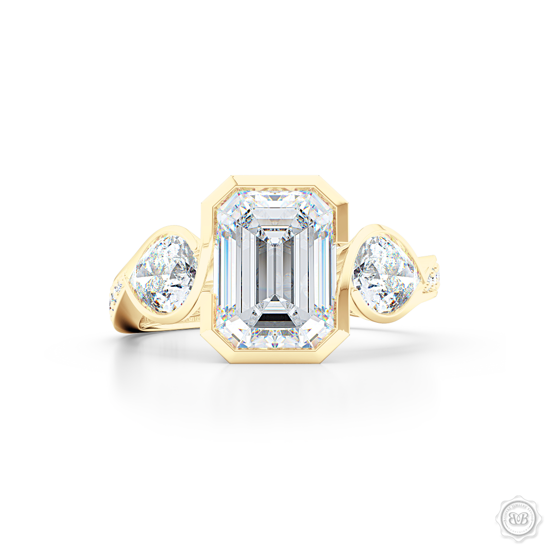 Three stone Diamond engagement ring. Emerald Cut GIA certified Diamond. Pear shape side stones. Handcrafted in Classic Yellow Gold. Free Shipping on All USA Orders. 30-Day Returns | BASHERT JEWELRY | Boca Raton, Florida