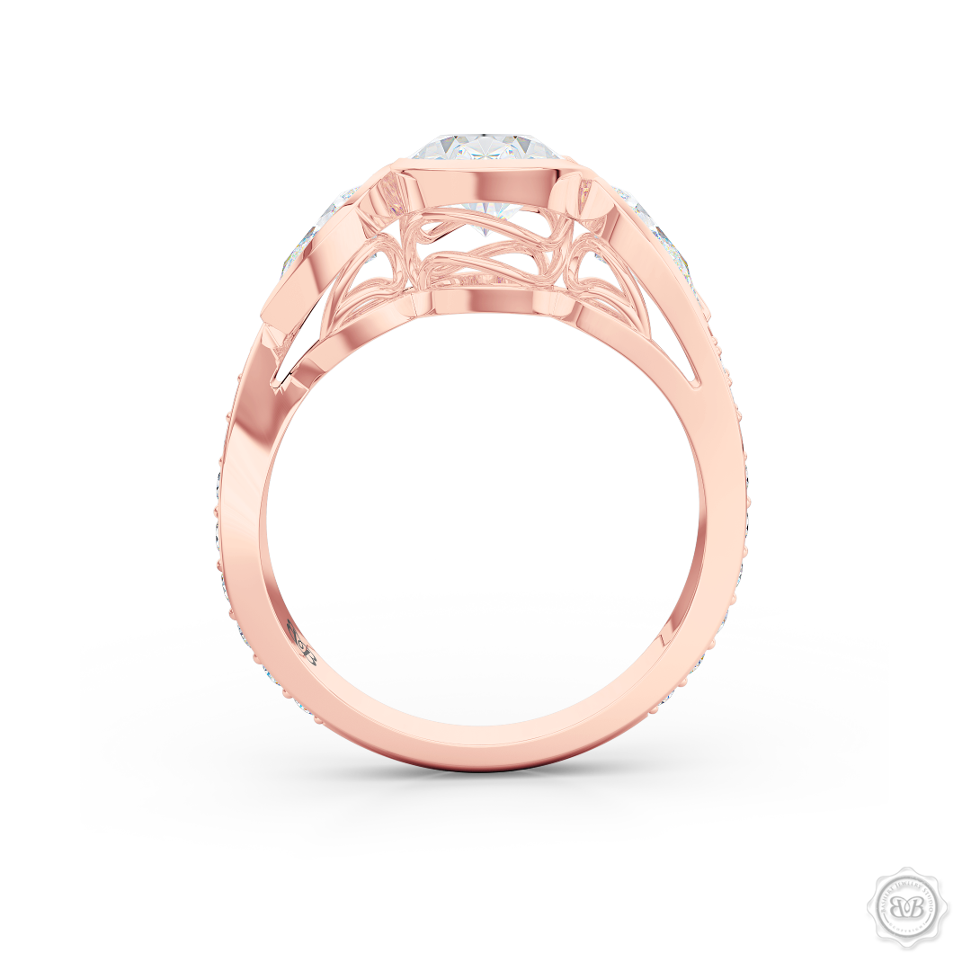 Three stone Diamond engagement ring. Oval Cut GIA certified Diamond. Pear shape side stones. Handcrafted in Romantic Rose Gold. Free Shipping on All USA Orders. 30-Day Returns | BASHERT JEWELRY | Boca Raton, Florida