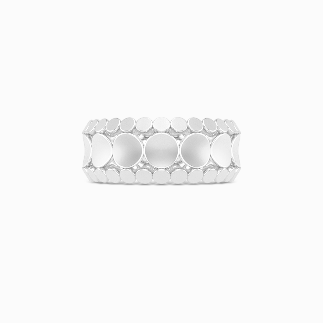 Uni-sex beveled wedding ring. Three-row comfort fit concave inner band with two beveled-edge outer bands. Hand-fabricated in 18K White Gold. Free Shipping All USA Orders. | BASHERT JEWELRY | Boca Raton Florida