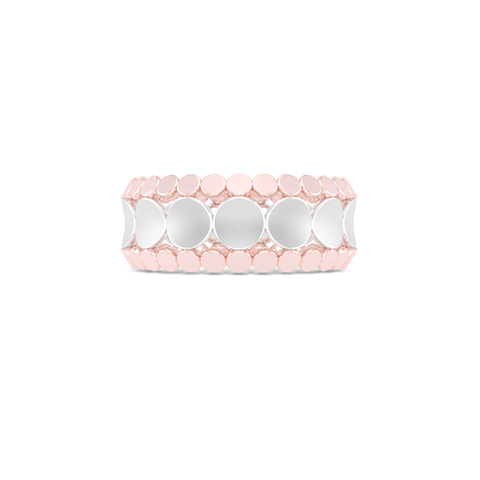 Uni-sex beveled wedding ring. Three-row comfort fit concave inner band with two beveled-edge outer bands. Hand-fabricated in tow-tone White and Rose Gold. Free Shipping All USA Orders. 15 Day Returns | BASHERT JEWELRY | Boca Raton Florida