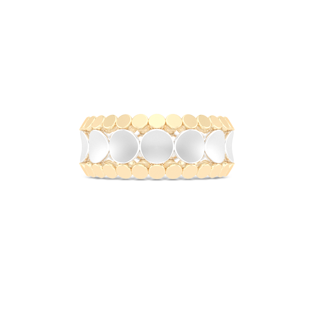 Uni-sex beveled wedding ring. Three-row comfort fit concave inner band with two beveled-edge outer bands. Hand-fabricated in tow-tone White Gold and Yellow Gold. Free Shipping All USA Orders. 15 Day Returns | BASHERT JEWELRY | Boca Raton Florida