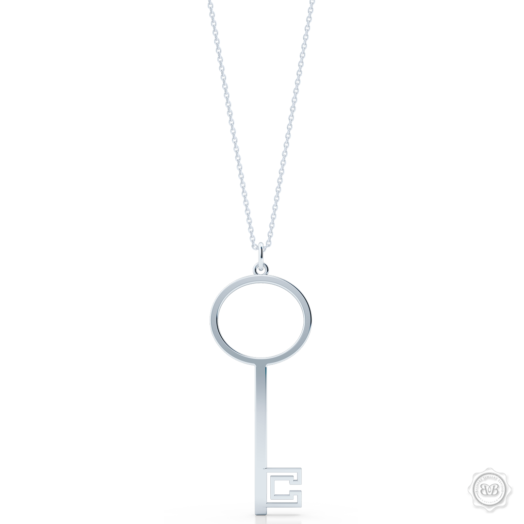 Hipster Key Pendant for Her with Clean Sophisticated Lines. Effortless Inspirational Cool for the Urban Bohemian. Handcrafted in Sterling Silver. Customize it with an inspirational Word or Your Initials. Free Silver Chain. Free Shipping for All USA Orders. 30Day Returns | BASHERT JEWELRY | Boca Raton Florida