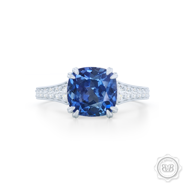 Vintage-Inspired Cushion Cut Blue Sapphire Solitaire Engagement Ring handcrafted in  Precious Platinum. Elegant Bead-Set Diamond Shoulders. Find a GIA Certified Diamond Tailored to Your Budget.  Free Shipping USA. 30Day Returns | BASHERT JEWELRY | Boca Raton Florida