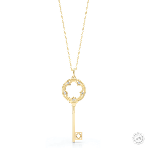 A Feminine Clover Key Pendant with a Classic Appeal and Venetian Grace. Crafted in Sterling Classic Yellow Gold and Adorned with 0.05ct Round Brilliant Diamond Set in Soft Bezel Pots. Key pendants are a vibrant symbol of all that is possible and have been a classic jewelry statement for girls of all ages. Available in three Sizes. Free Silver Chain. Free Shipping for All USA Orders. 30Day Returns | BASHERT JEWELRY | Boca Raton Florida