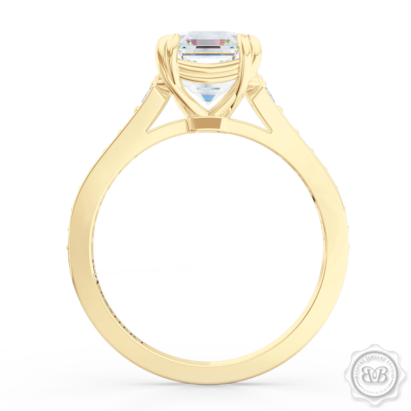 Vintage-Inspired Asscher Cut Diamond Solitaire Engagement Ring Handcrafted in Classic Yellow Gold. Elegant Bead-Set Diamond Shoulders. Find a GIA Certified Diamond Tailored to Your Budget. This Design has a Matching Diamond Wedding Band For Her. Free Shipping USA. 30Day Returns | BASHERT JEWELRY | Boca Raton Florida