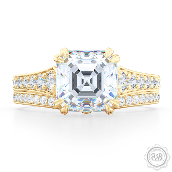 Vintage-Inspired Asscher Cut Diamond Solitaire Engagement Ring Handcrafted in Classic Yellow Gold. Elegant Bead-Set Diamond Shoulders. Find a GIA Certified Diamond Tailored to Your Budget. This Design Comes with a Matching Diamond Wedding Band For Her. Free Shipping USA. 30Day Returns | BASHERT JEWELRY | Boca Raton Florida