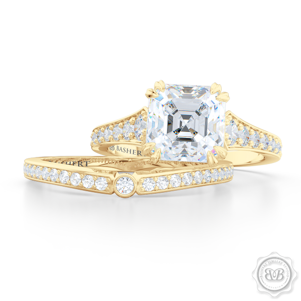 Vintage-Inspired Asscher Cut Diamond Solitaire Engagement Ring handcrafted in Classic Yellow Gold. Bead-Set Diamond Shoulders. GIA Certified Diamond. Free Shipping USA. 30-Day Returns | BASHERT JEWELRY | Boca Raton, Florida.
