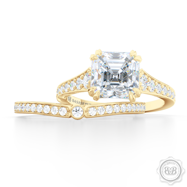 Whisper thin Diamond Wedding Band. Clean, Sophisticated Lines. Bead-Set Round Diamonds in Classic Yellow Gold. Free Shipping USA. 30 Day Returns | BASHERT JEWELRY | Boca Raton, Florida