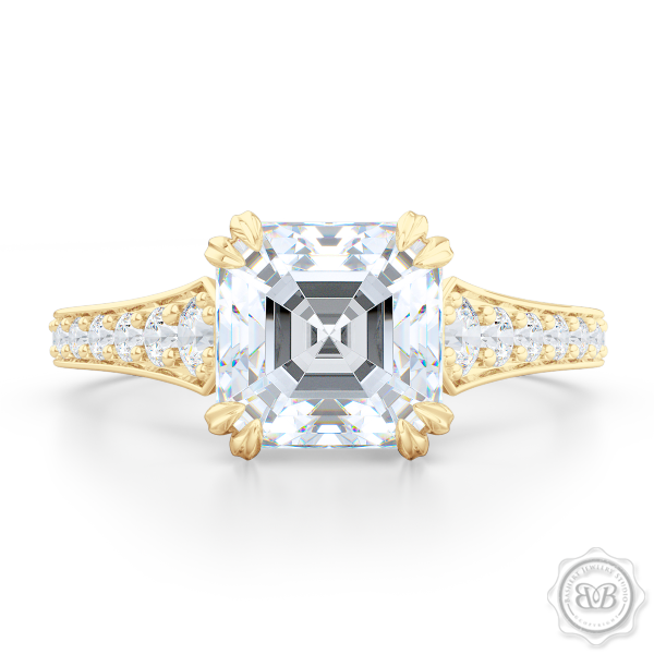 Vintage-Inspired Asscher Cut Moissanite Solitaire Engagement Ring handcrafted in Classic Yellow  Gold. Bead-Set Diamond Shoulders. Forever One Charles & Colvard Asscher-cut Moissanite. Free Shipping USA. 30-Day Returns | BASHERT JEWELRY | Boca Raton, Florida.