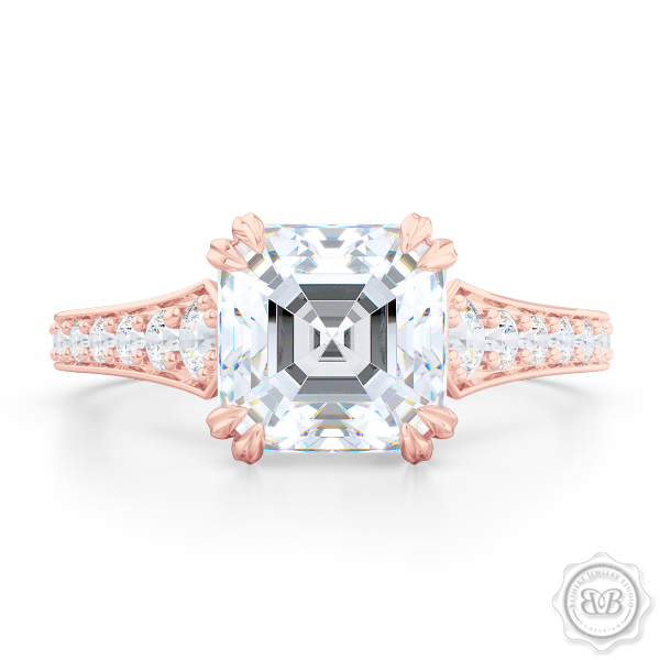 Vintage-Inspired Asscher Cut Moissanite Solitaire Engagement Ring handcrafted in Romantic Rose Gold. Bead-Set Diamond Shoulders. Forever One Charles & Colvard Asscher-cut Moissanite. Free Shipping USA. 30-Day Returns | BASHERT JEWELRY | Boca Raton, Florida.