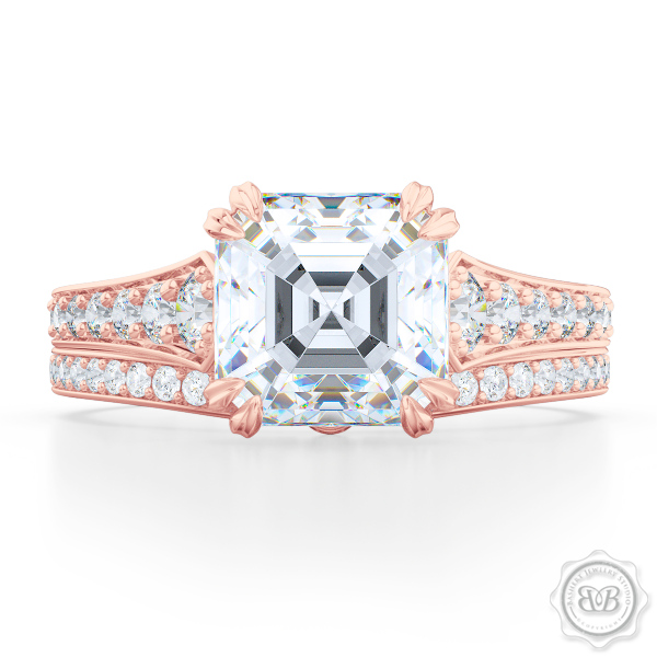 Vintage-Inspired Asscher Cut Diamond Solitaire Engagement Ring handcrafted in Romantic Rose Gold. Bead-Set Diamond Shoulders. GIA Certified Diamond. Free Shipping USA. 30-Day Returns | BASHERT JEWELRY | Boca Raton, Florida.