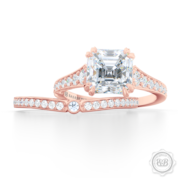 Curved Diamond Wedding Band. Clean, Sophisticated Lines. Classic Bead-Set Diamonds in Romantic Rose Gold. Matching Asscher Solitaire Engagement Ring. Handcrafted Just For You! Free Shipping for USA. 30 Day Returns | BASHERT JEWELRY | Boca Raton, Florida