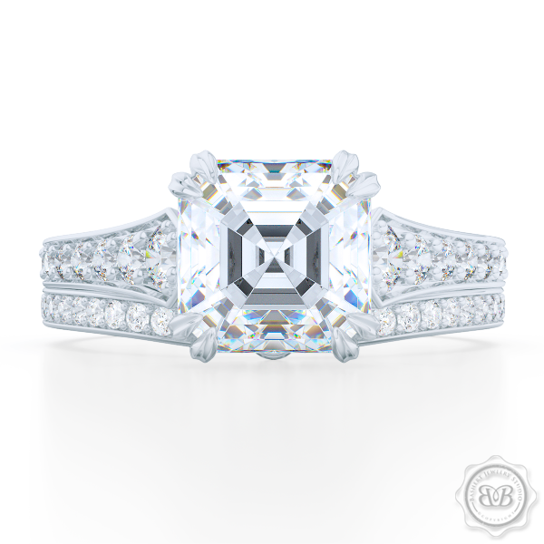 Vintage-Inspired Asscher Cut Diamond Solitaire Engagement Ring handcrafted in White Gold or Precious Platinum. Bead-Set Diamond Shoulders. GIA Certified Diamond. Free Shipping USA. 30-Day Returns | BASHERT JEWELRY | Boca Raton, Florida.