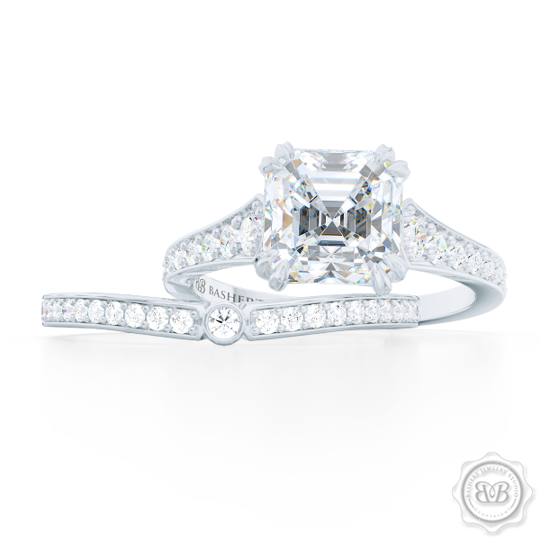 Curved Diamond Wedding Band. Clean, Sophisticated Lines. Classic Bead-Set Diamonds in Precious Platinum or White Gold. Matching Asscher Solitaire Engagement Ring. Handcrafted Just For You! Free Shipping for USA. 30 Day Returns | BASHERT JEWELRY | Boca Raton Florida